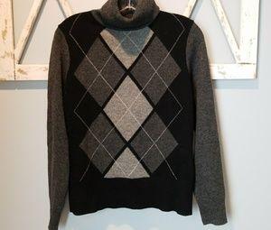 Victor Alfaro argyle turtleneck sweater small